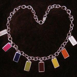 Coach Sterling Silver Multicolor Hangtag Necklace